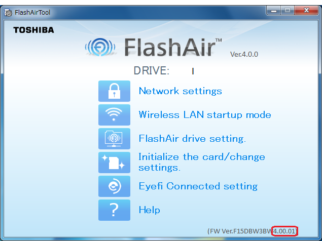 From FlashAir™ Configuration Software: